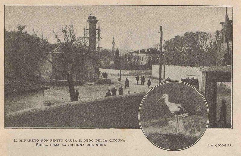 Minareja e papërfunduar për shkak të çerdhes së lejlekut. Në majë lejleku sipër çerdhes.